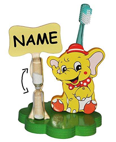 Unbekannt Zahnbürstenhalter / Zahnputzuhr - Elefant Zirkus incl. Name - mit Sanduhr + Zahnbürste - aus Holz - Badezimmer Bad Kinderzahnbürste / Mädchen Jungen - Tiere -..