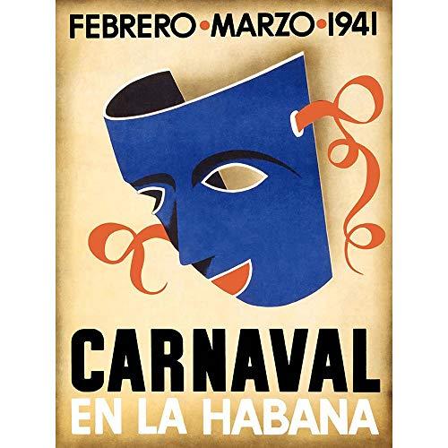 vel Tourism Cuba Havana Carnival Mask Vintage Retro Advertising Art Print Poster Wall Decor Kunstdruck Poster Wand-Dekor-12X16 Zoll ()