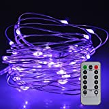 Fairy String Lights 8 Modes 50 LED Dimmable 5 M Silver Wire Light, SATUBROWN Battery Operated Waterproof Lighting Jars &Tables Valentines Decorations with Remote Control (Purple Lighting)