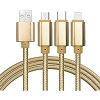 Cable del cargador del USB, USB micro trenzado durable multifuncional 3in1, tipo C, cable de carga micro del relámpago para el iPhone 7 5C 5S 6 6Plus, galaxia de Samsung, Huawei, Xiaomi, Meizu, ZTE, Lenovo, LG, Zenfone y el otro teléfono android(Oro)