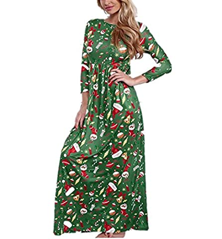 Keepwin Women Christmas Printed Long Sleeve Casual Party Evening Boho Maxi Dresses with Pockets (L,