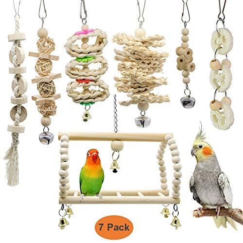 GingerUP Vogelspielzeug für Vögel, Papageien, Schaukel, Kauspielzeug aus Naturholz, zum Aufhängen, für kleine Sittiche, Nymphensittiche, Sittiche Finken 7 Packungen