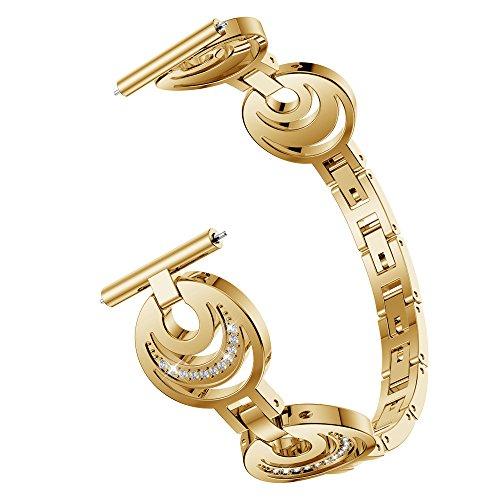 TPulling Fitbit Blaze Watch Armband Sport Weiches Halbmond-Typ Kristallmetall Uhrenarmband Ersatzarmband Handschlaufe (Gold)
