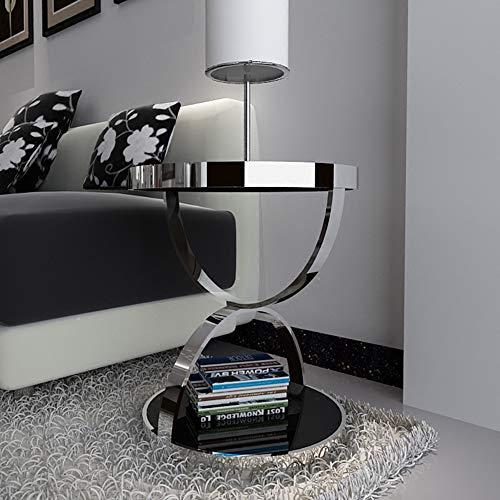 ZJJ Moderner minimalistischer Edelstahl-Gold-runder Tisch vergoldetes ausgeglichenes Glas-Sofa-Beistelltisch-Freizeit-Couchtisch (Farbe : Silber, größe : 48 * 50cm)