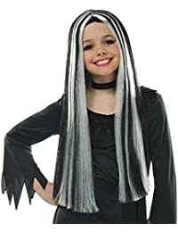 "Girls Long 25"" Black with White Streaks Wig for Halloween Witch Vampire Monster Frankie Characters Fancy Dress Book Week Gothic Goth Girl"