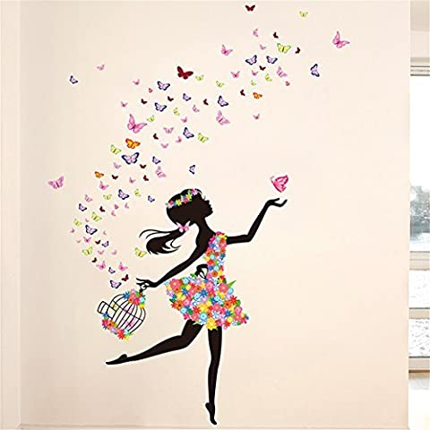 Meihuida Magic Fairy Dancing In Flower Release Butterfly Wall Sticker For Girls' Decoration