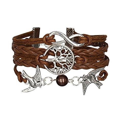 Taurus Accessories 3 Stränge Antike-Silber überzogene Unendlichkeit, Bird Of Peace and Tree Of Wishes mit braunem Leder geflochten, Perfekt Personalisierte (Personalisierte Leder Geschenke Für Ihn)