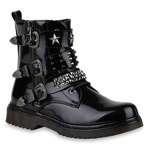 Stiefelparadies Damen Stiefeletten Outdoor Biker Boots Nieten Schuhe 147129 Schwarz Nieten 38 Flandell