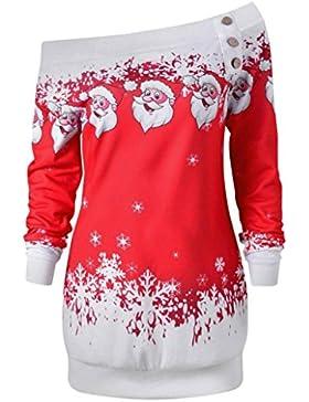 Sweatshirt damen Kolylong® Frauen Elegant Trägerlos Weihnachten Bluse Vintage Langarmshirts mit Weihnachtsmann...