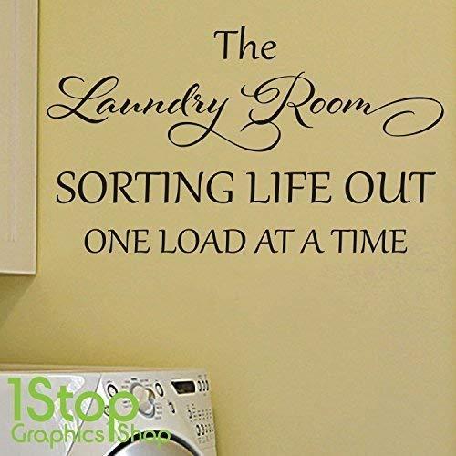 1Stop Graphics Shop - die Wäsche Zimmer Wandaufkleber Zitat - Schlafzimmer Lounge Wandkunst Aufkleber X248 - Weiß, Small