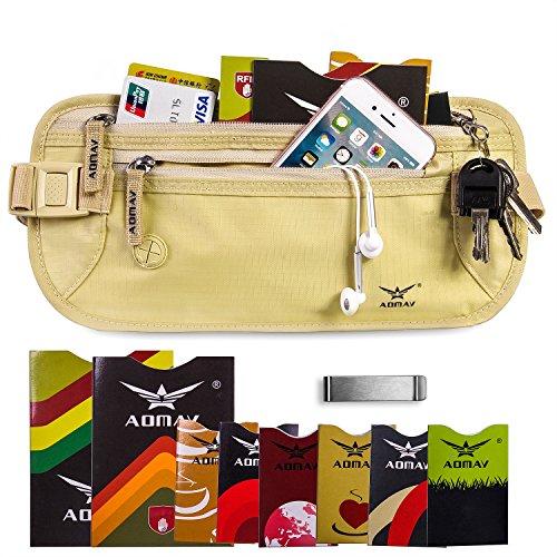 aomay denaro cintura per RFID Portafoglio da viaggio con 6Carta Di Credito Protector e 2Passaporto Porta sacchetto impermeabile Sicuro rfid-blocker Waist Pack Stash, Beige