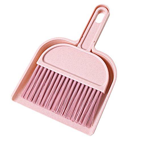 Grifri Kehrpulspinsel Mini Desktop Reinigungsbürste Kehrbesen-Kehrset Sweeping Dustpans Mini Desktop Reinigungsbürste Small Broom Dustpan Sweep Set (Pink)