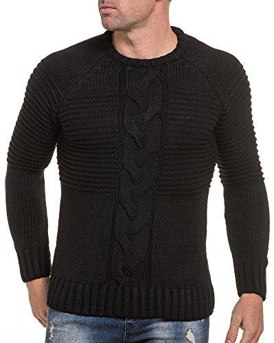 BLZ jeans - Pull noir maille torsadé à encolure ronde Noir