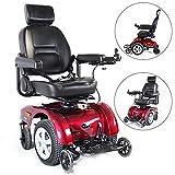 BQT High-End-Elektro-Rollstuhl Smart Liege Aluminium-Legierung Rollstuhl, Luxus-Leder-Sitz + Elektrische Liege, Vierrädrige Ältere Behinderte Roller (Rot)