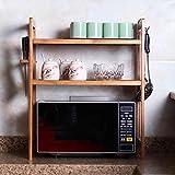 PENGFEI Küchenregal Küche Regal Storage Racks Massivholz Mikrowelle Regal Backofengestell Bodenständig Multifunktion Reis Kocher Geschirr Klammer Bambus Einstellbar 1/2 Schicht, 8 Größe 3 Spezifikatio