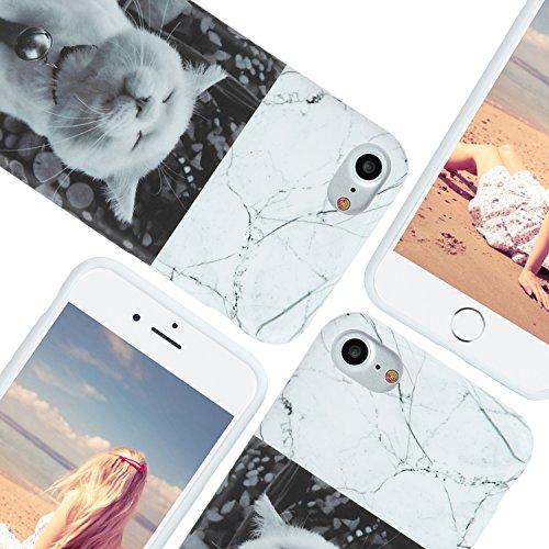 iPhone 7 Hülle, Imikoko® iPhone 7 Marmor Marble Handy Schutzhülle mit Cat KATZEN Cover in Schwarz Smartphone Zubehör Öhrchen Schale Süß Tasche Girl Super Sweet Cute Cat Kitty Mädchen TPU Kitten Back C Weiß