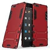 Happy-L Hülle Für Smartisan U1 Pro (2017), 2-in-1-Eisenrüstung Tough Style Hybrid-Zweischichtrüstung Defender PC + TPU Hartschalen-Schutzhülle mit stoßsicherem Standfuß (Farbe : Rot)