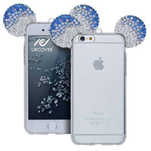 Urcover® Apple iPhone 6 Plus / 6s Plus Handyhülle Maus Ohren Bling Ear Schutzhülle Case Cover Etui Crystal Bär Maus Ohren Girl TPU Diamant Silber Blau Silber