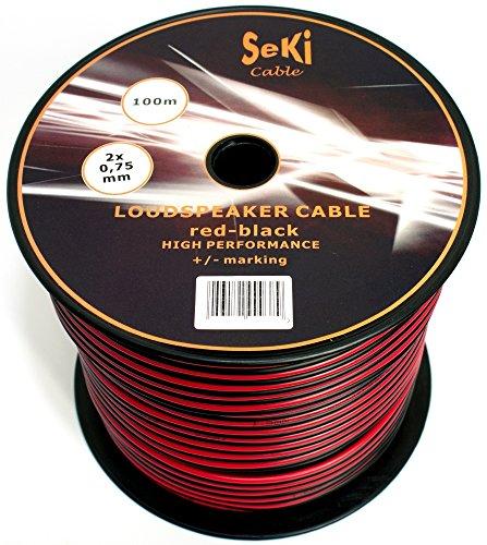 Lautsprecherkabel 2x0,75mm2 - 100m - rot-schwarz - CCA - Audiokabel - Boxenkabel
