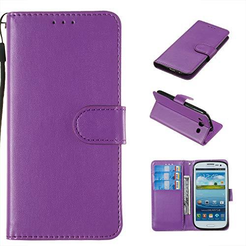 zhülle kompatibel mit Samsung Galaxy S III i9300 - Hülle Handyhülle Handy-Tasche Wallet Case Cover für Samsung Galaxy S III i9300 [Einfarbig - lila] ()