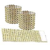 Margueras - Nastro portatovagliolo ad anello, con strass, 13 x 4 cm, 100 pezzi, oro, 100PCS