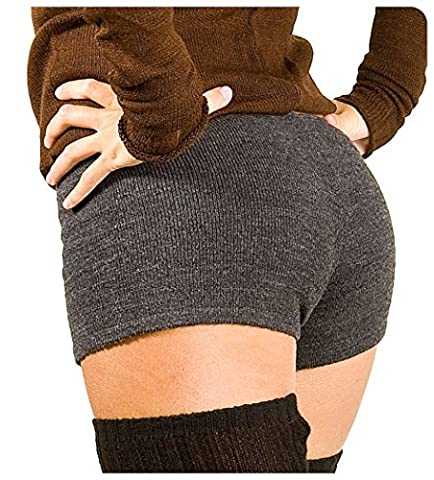 Charcoal Large Sexy Low Rise Stretch Knit Boy Shorts KD dance New York Yoga Gym Pilates Loungewear Pole Dancing Made In USA