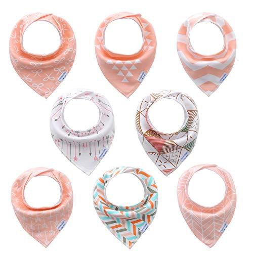 Bebé Bandana baberos para chica niñas 8 pack set, 100% algodón orgánico, suave y absorbente, hipoalergenico y lactancia Baberos bebe denticion baberos set de regalo para recién nacidos