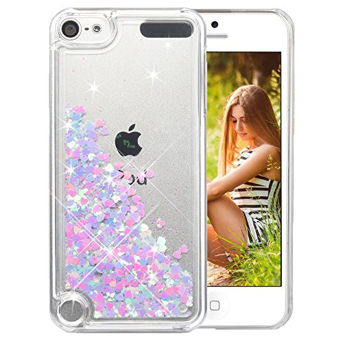 Coque iPod Touch 5/6th, Wuloo Glitter Liquide Protecteur Crystal Cover Mode 3D Créatif Coque Clear Shiny Design Flowing Flottant Luxe Bling Étincelle Case Briller Étui pour iPod Touch 5 Touch 6