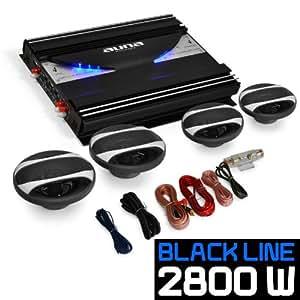 "Set de sono auto ""Black Line 420"" - Ampli 4 canaux 2800W, 2 haut-parleurs 16.5cm (6""), 2 haut-parleurs 10cm (4"") et set de câbles"