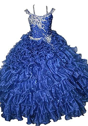 TuanYuan Princess Girls Spaghetti Beaded Ball Gowns Floor Length Pageant Dresses 2 US Royal Blue