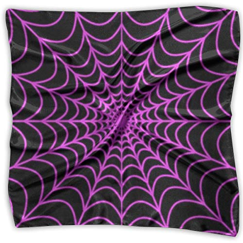 Zcfhike Halloween Spider Web Silky Square Scarf Kerchief Neck Scarf Headdress