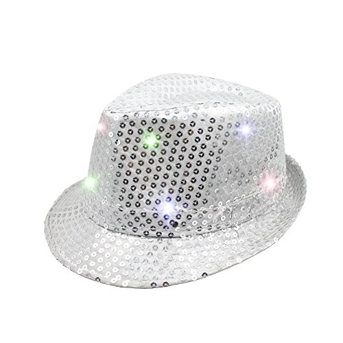2pcs LED Hut Lumineszenz Jazzkappe bunten Cowboyhut glühenden sequined Hut Tanzenkleid Requisiten Silber - (Konzerte Jazz Kostüme Für)