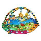 Todeco - Estera de Juego para Bebés, Alfombrilla de Juego para Bebés - Tamaño: 94 x 81 x 43 cm - Juguetes educativos: (1x) Estrella de felpa (1x) Sonrisa de felpa (1x) Espejo (1x) Juguete sonajero (1x) Libro de lienzo - Patrón de animales