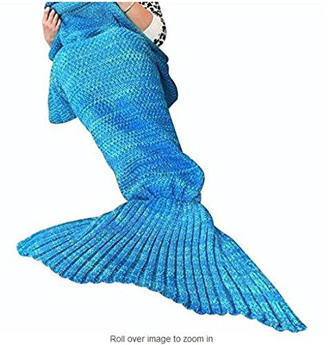 Meerjungfrau Decke, Sands Clover, handgemachte Mermaid Schwanz Stil Blanket Sofa Schlafdecke, Haushaltsgegenstände , Polyester Knitting Pattern Schlafdecke, weiche Strick Mermaid Schwanz Schlafsack für Erwachsene 70,87 Zoll x 35.43 Zoll (Blau 2)