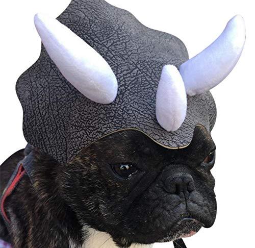elec tech Hund Dinosaurier Hut Haustier-Kappe Triceratops Rollenspiel Hund Hut mit Gummiband Urlaub Hundekostüm