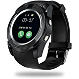 Mobilefit Apple iPhone 7 Plus 128GB Compatible V9 Bluetooth Smart watch Touch screen with Camera, Smartphones Support SIM/TF Card Insert with Health Management Bluetooth 4.0 Waterproof watch Band Replaceable for Android Men Women Kids Boys (Black)By Mobilefit