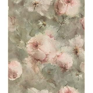 rasch Tapete 467314 aus der Kollektion Vincenza – Vliestapete mit floralem Aquarell in Rosa auf olivgrünem Hintergrund – 10,05m x 53cm (L x B)