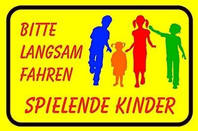 "Hinweisschild, Warnschild ""Bitte langsam fahren! Spielende Kinder"", Größe: 40x30cm, Art. hin_111, Achtung, Vorsicht, Warnung, Hinweis auf Kinder, Schild Spielstraße"