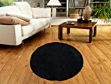 #9: Vendi Pie Soft floormats for home Round footmats doormats bathroom home decors for living room Shaggy Non-slip rugs for bed room - Republic Day Sale - (Black)