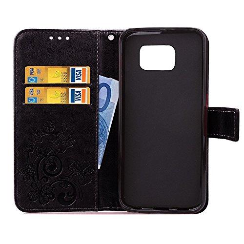 Best Choise Flip Cover per iPhone 6s 6s Plus Stand Case Solid colore PU Pelle Custodia Protettiva Shell rilievo Fiore con corda grossartige qualità Black