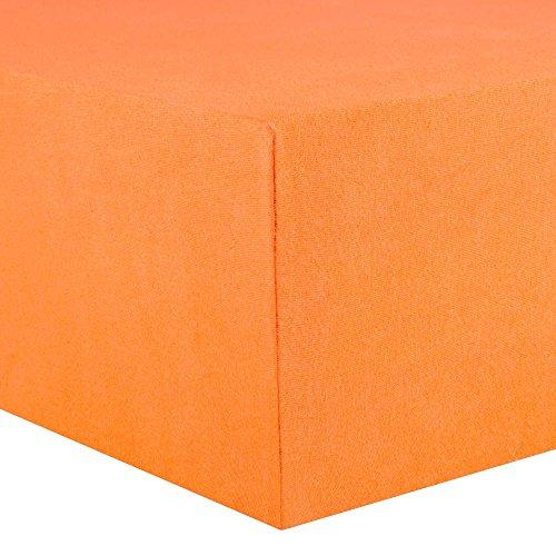 CelinaTex Lucina Spannbettlaken 180x200 - 200x200 orange Jersey Baumwolle Spannbetttuch Doppelbett Matratzen 0002814