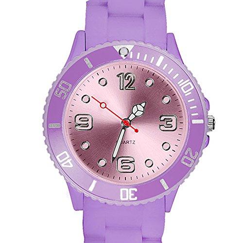 Taffstyle Farbige Sportuhr Armbanduhr Silikon Sport Watch Damen Herren Kinder Analog Quarz Uhr 39mm Flieder