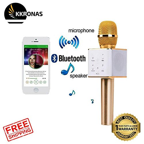 KKRONAS RFV7 Bluetooth Wireless Karaoke Mike Compatible With Samsung Galaxy On7 Prime And Other Functions Like Echo , Treble , Bass , Etc
