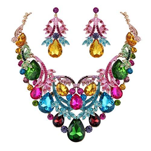 Clearine Damen Böhmisch Boho Tropfen Filigran Blatt Aushöhlen Statement Halskette Dangle Ohrringe Set Bunt Gold-Ton