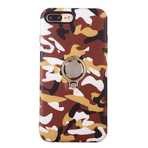 UKCOCO Camouflage Camo Druck Telefon Fall mit Ring Halter Silm Fit stoßfest Telefon Shell Cover für iPhone 7/8 Plus (Orange)