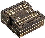 WINTER -Angebote-Woche - SouvNear Holz Untersetzer für Gläser - Handgefertigte Retro Holzuntersetzer mit 6 Quadrat Tisch Untersetzern und Halter aus Holz, Geschenk aus Indien