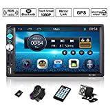 Autoradio Bluetooth Autoradio 2 Din Universale MP5 Stereo Giocatore con 7' HD 1080P Touch Screen GPS Navigazione Controllo del Volante FM/RDS, USB/TF/AUX in/Supporto Fotocamera per Retromarcia