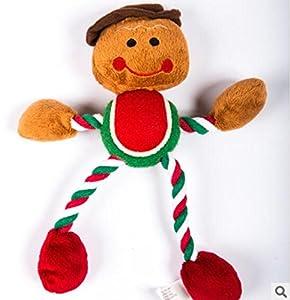 HNBGY Résistance aux morsures Coton Corde Usure Chapeau Gingerbread Man Forme Frisbee Pet Chien Jouet Chiot Mâcher Entraînement Jouet