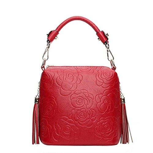 Frauen-Rosen-Blumen Prägen Handtragetasche Einstellbare Cross-Body-Tasche Red