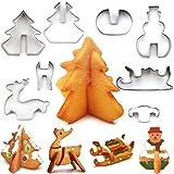 Natale Cookie Cutter Set, 8 pezzi in acciaio inossidabile 3D fai da te Biscotto dessert Stampo da vacanza cottura-albero di Natale, pupazzo di neve, slitta, Elk per i bambini / partito